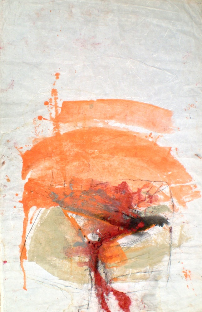 Contemporary landscape titled Crevice, 2003, 84x72 cm, pastel wash, ink and charcoal from An Archaeology of Landscape at Kakadu and Nitmiluk