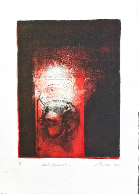Red Column, 2009, intaglio and drypoint
