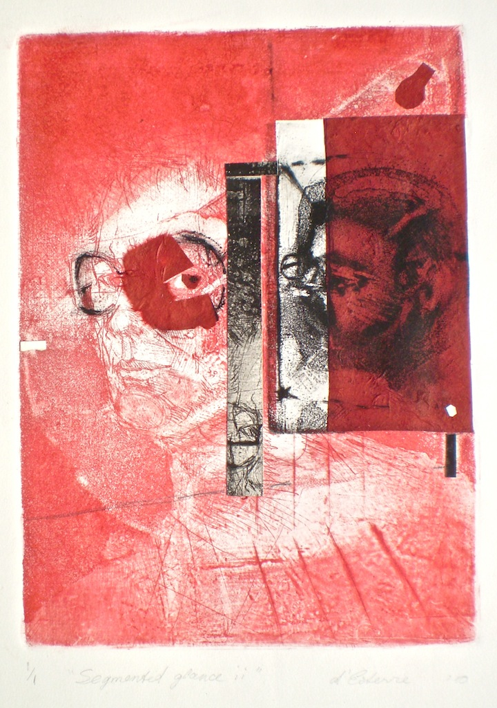 Segmented Glance 2, 1/1, 2010, intaglio, drypoint, chine-colle and collage