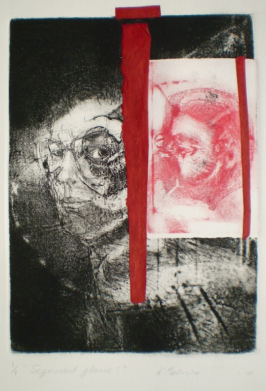 Etching titled Segmented Glance 1, 1/1, 2010, 25.5x18 cm print, 50x35 cm paper, intaglio and collage.