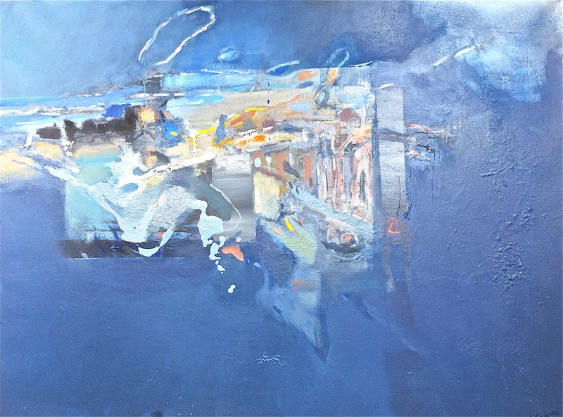 Seascape titled The Overflow, 2014, 92x120 cm, oil on canvas, Point Roadknight commission