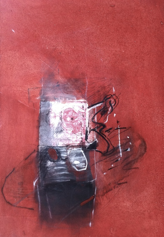 The Cellphone Fell into the Oil Paint 2, 2014, 48x34 cm, intaglio, oil, pastel and charcoal on gessoed paper