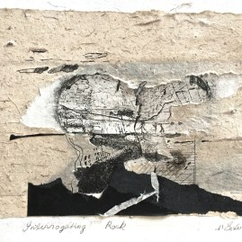 Interrogating Rock, 10/10, v.e., 2017, intaglio and handmade paper