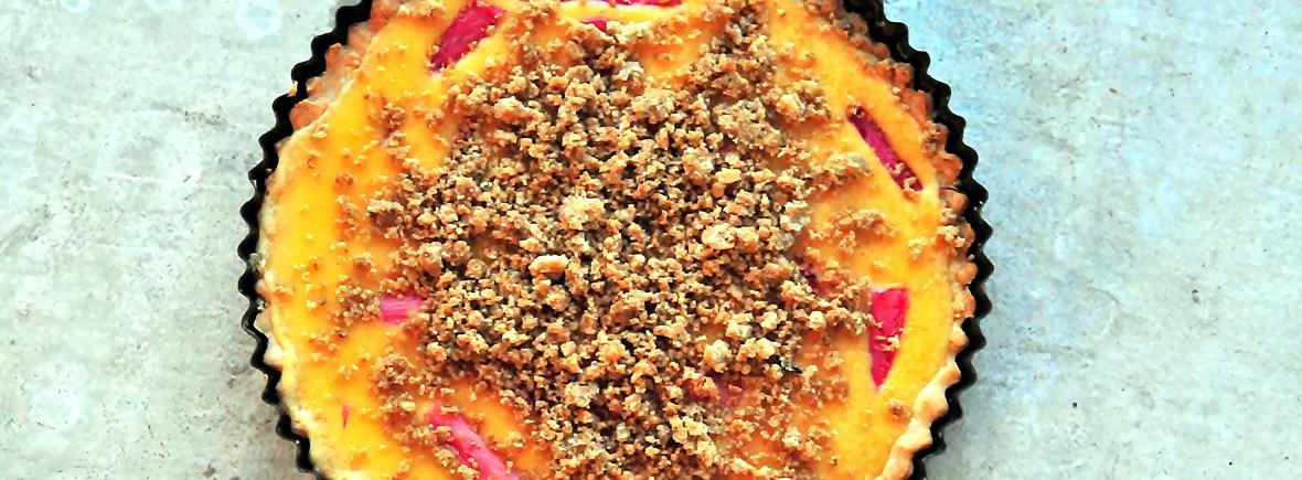 Roasted Rhubarb Crumble Tart