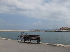 bench in Chania harbour