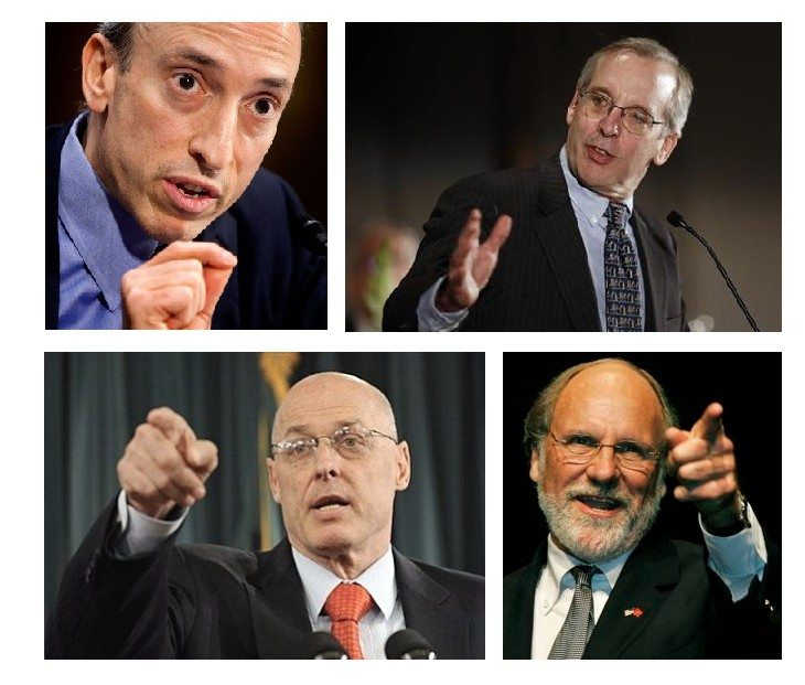 Clockwise from top left: Gary Gensler, Chairman of the CFTC; Bill Dudley, President of the NY Fed; Jon Corzine, governor of New Jersey; Hank Paulson, Treasury Secretary who gave Goldman Sachs a $10B bailout.
