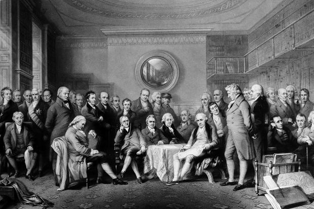 An 1862 engraving of the Royal Society fellowship of eminent scientists