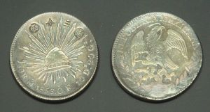 A Mexican dollar used as Japanese currency, marked with 改三分定 (fixed exchange of 3 分, the Tokugawa coin).