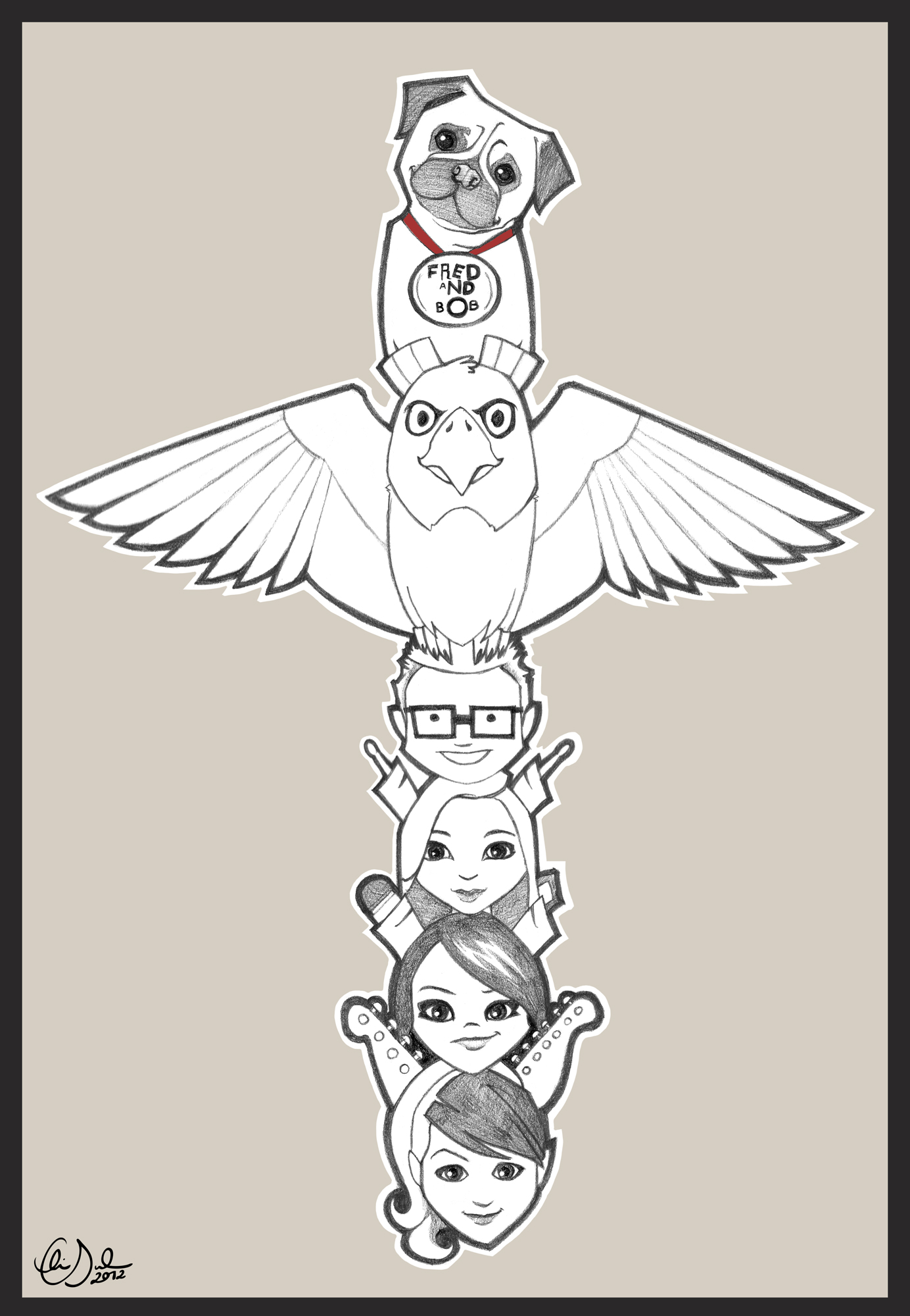 Pole Animal Totem Drawings