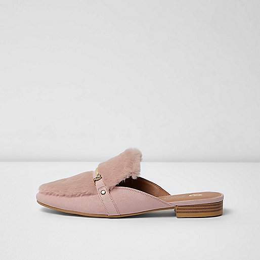 pink faux fur backless loafers river island