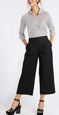 cotton rich wide leg trousers