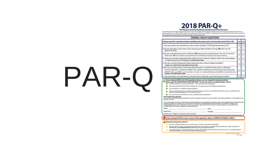Par-Q Fitness and Wellness Questionnaire before beginning exercise activity