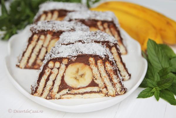 Prăjitură cu biscuiți și banane -fără coacere 1