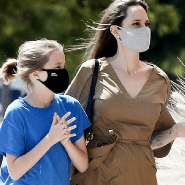 Angelina Jolie and daughter Vivienne, 11, keep their masks on as they emerge from lockdown together in LA