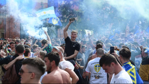 Promoting coronavirus infection? Leeds United fans celebrate elevation to the Premier League for the first time in 16 years