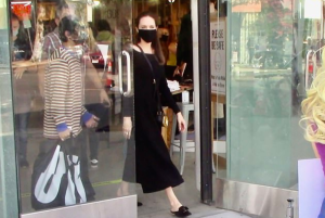 Angelina Jolie, 45, encounters an animal rights protest in West Hollywood while shopping with her son Pax