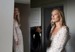 Kate Moss, 47, in a black blazer mini dress for new radiant campaign