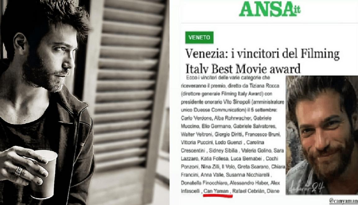 Can Yaman va fi premiat la Filming Italy Best Movie Award 2021