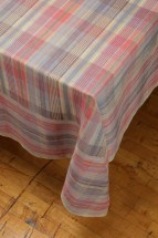 Photo of a draped corner of plaid tablecloth