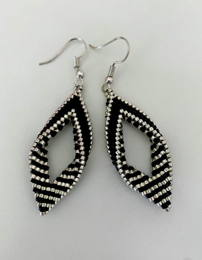 black and Silver oval earrings by bead creative