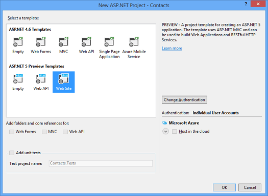 aspNet5NewAspNetProject