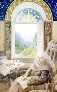 Bilbo en Rivendel, según Alan Lee