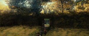 Gandalf, Bilbo y los Enanos huyen de Beorn