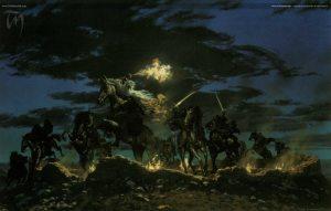 Gandalf se enfrenta a los Nazgûl en la Cima de los Vientos, según Ted Nasmith