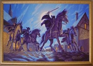 Los Nazgûl en Bree, según los hermanos Greg y Tim Hildebrandt
