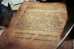Réplica del pergamino de Isildur
