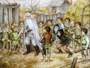Saruman y Frodo en Hobbiton, según Inger Edelfeldt