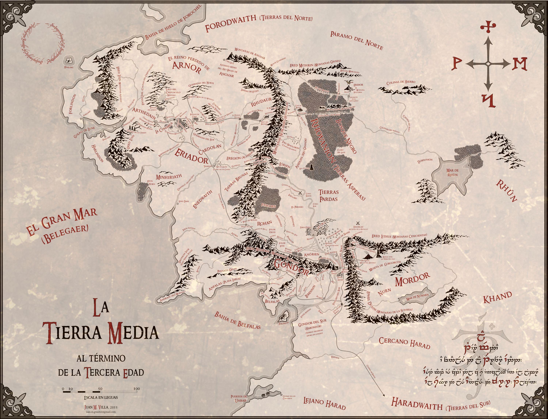Mapa Tierra Media Hd.Fantasticos Mapas De La Tierra Media En Alta Resolucion Y En
