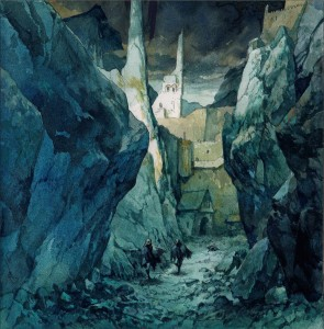 Frodo y Sam huyen de Cirith Ungol, según Benedykt Szneider