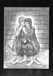 Frodo y Sam disfrazados de Orcos en Cirith Ungol, según Karin Brouwer