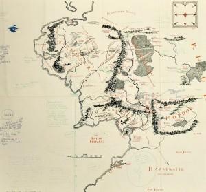 Mapa de la Tierra Media anotado por J.R.R. Tolkien