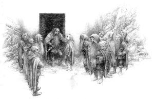 Bilbo y los enanos ante la puerta secreta, según Alan Lee