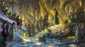 Beren y Lúthien ante Thingol y Melian, según Donato Giancola