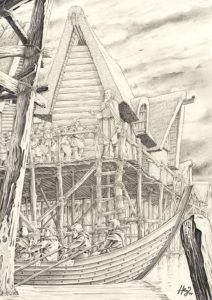 Bilbo y los enanos dejan la Ciudad del Lago, según el artista neerlandés Henning Janssen
