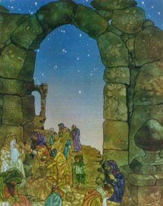 Bilbo y los enanos en el umbral, según Michael Hague