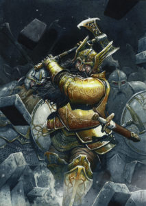 Thorin sale a la batalla, según el artista español Edu Rodríguez