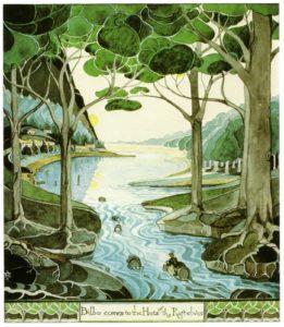 Bilbo llega a las cabañas de los Elfos, de J.R.R. Tolkien
