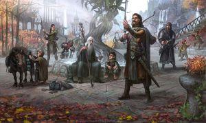 La Compañía del Anillo antes de partir de Rivendel, por Mariusz Gandzel