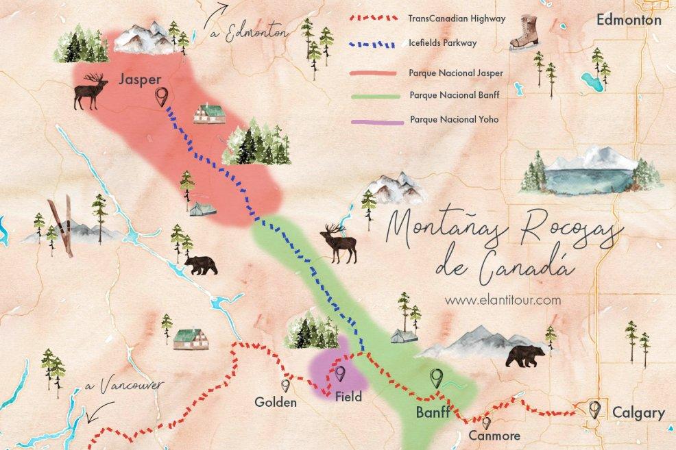montañas rocosas de canada mapa