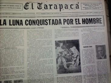 El 20 de julio de 1969, el mundo vio por televisión la llegada del hombre a la Luna. Al día siguiente, El Tarapacá se suma a la euforia planetaria (Foto: Hemeroteca M.R.I)