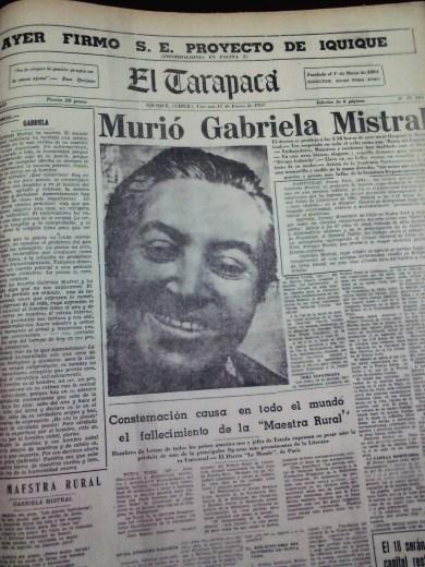 El 11 de enero de 1957, el diario publicó en primera plana el fallecimiento de Gabriela Mistral (Foto: Hemeroteca M.R.I)