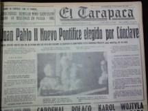 El 16 de octubre de 1978 es elegido como Papa, el polaco Karol Wojtyla. Así es la portada de El Tarapacá con Juan Pablo II (Foto: Hemeroteca M.R.I.)