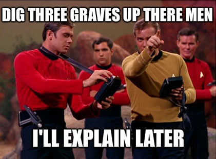 RED SHIRT JOKE - Redshirts, John Scalzi: Humor trekie