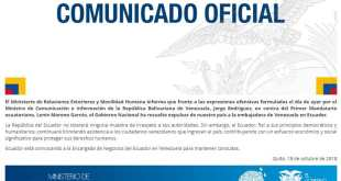 Gobierno de Ecuador expulsó a la embajadora de Venezuela en su país