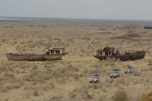 Una imagen del mar de Aral, uno de los iconos del desarrollo insostenible. Foto: Land Rover Mena / Flickr Creative Commons.