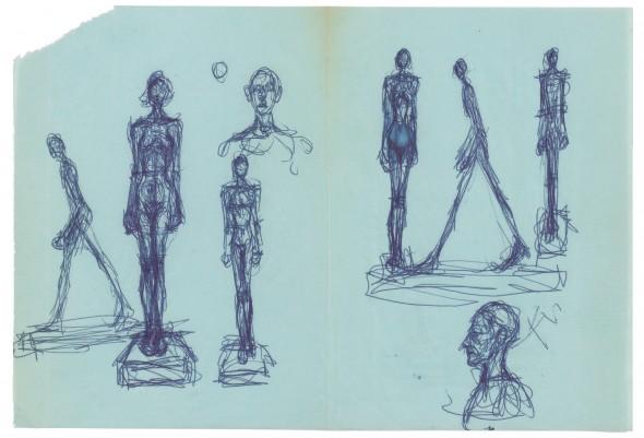 Hombre que anda, figuras de pie sobre peana, bustos de hombre de frente y de perfil c.a. 1959 Bolígrafo azul
